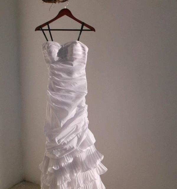 Hanging up my trash the dress wedding dress as we sipped our wine.