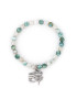 Mint agate bracelet with eye of horus tibetan silver charm.