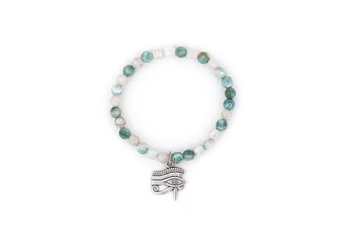 Mint agate bracelet with eye of horus tibetan silver charm.
