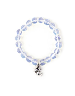 Opalite bead bracelet with ohm charm.