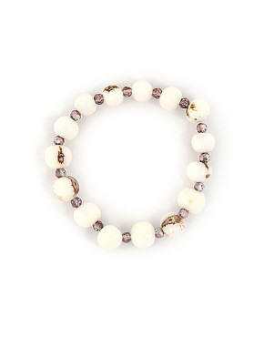 Stackable bracelet with acai beads and crystals