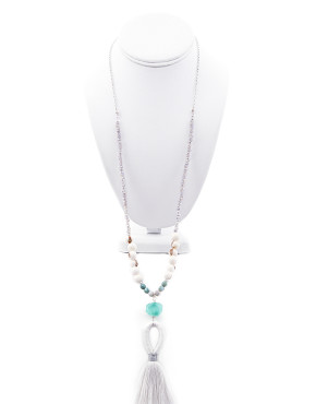 Gemstone and crystal tassel necklace