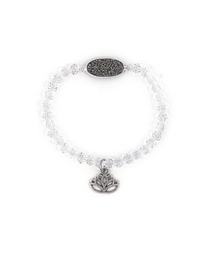 Silver charm bracelet with silver druzy and crystals