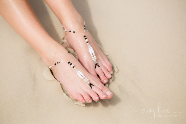 Barefoot sandals for beach weddings and bridesmaids by Chelsea Bond Jewelry