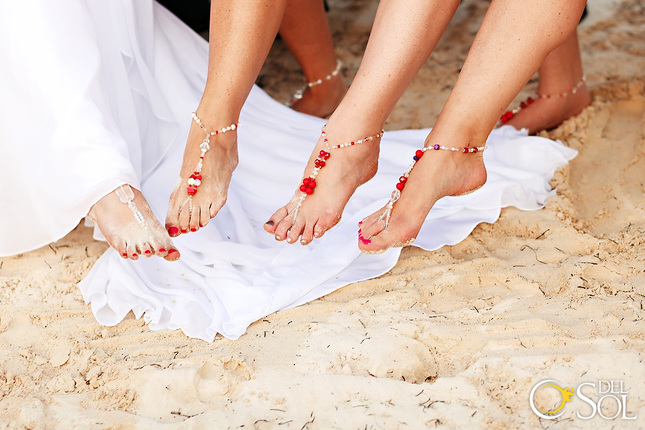 Custom bridesmaid barefoot jewelry for a Mexico wedding.