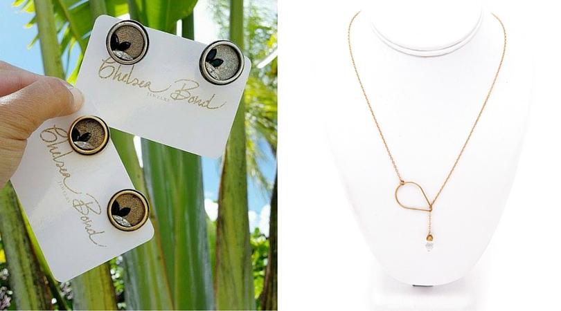 Bond Jetsetter handmade cufflinks and Corsica Gold Lariat handmade necklace.