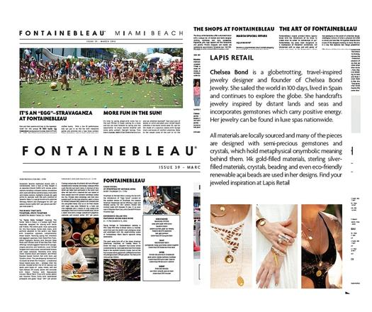 FONTAINEBLEAU MIAMI BEACH - MARCH 2016 NEWSLETTER FEATURE OF CHELSEA BOND JEWELRY