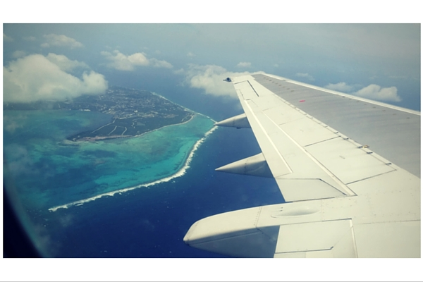 Flying over Grand Cayman.