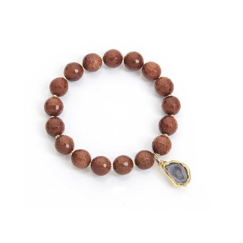 Gemstone stretch bracelet with gold geode charm.