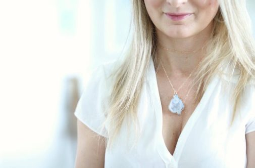 druzy and gold necklace by chelsea bond
