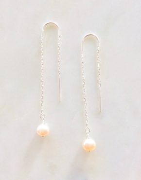 pearl threader earrings