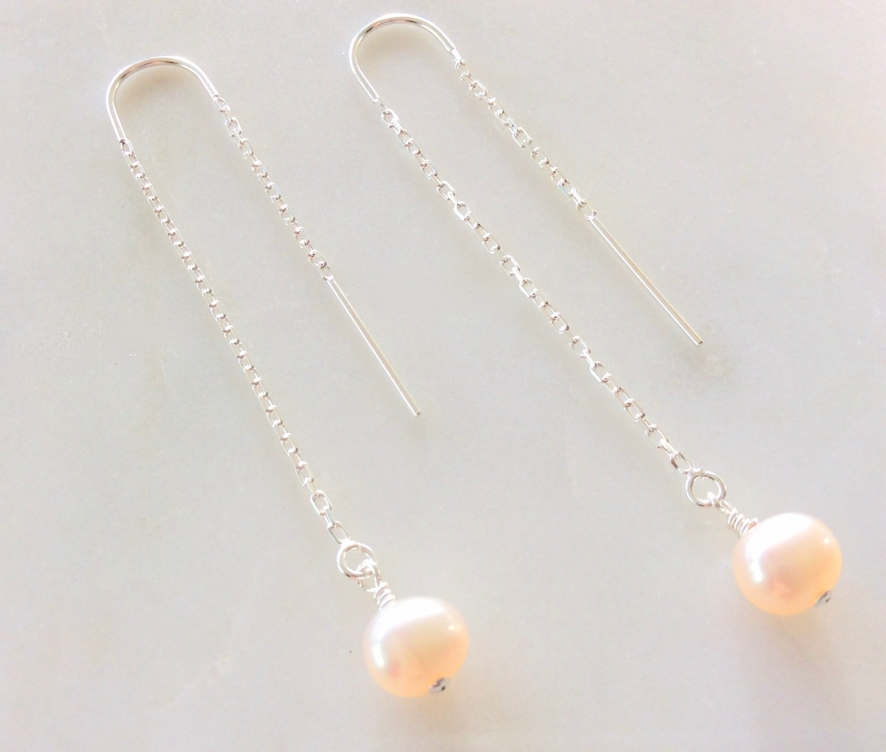 pearl threader earrings in silver