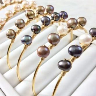 Clio Pearl Bangle Bracelets, Women Designer Bracelets at Chelsea Bond Jewelry