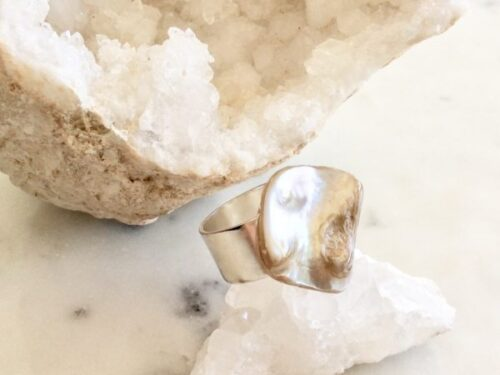 Maroma Rings, Pearl Shell bead Adjustable Rings at Chelsea Bond Jewelry