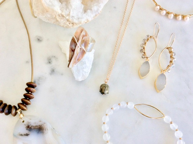 druzy gold earrings with jewelry collection by Chelsea Bond