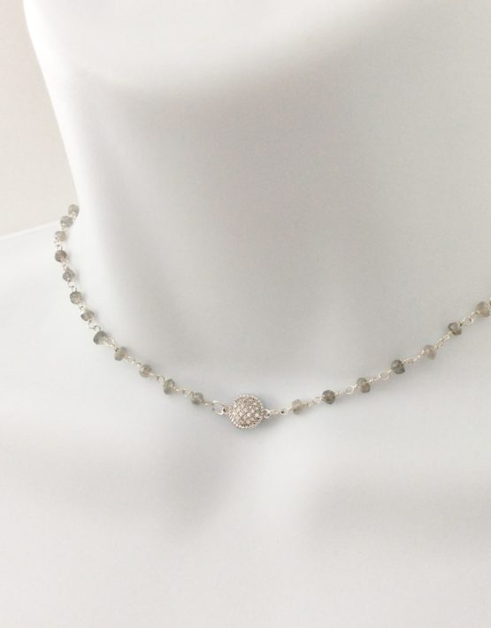 pave crystal labradorite choker silver necklace