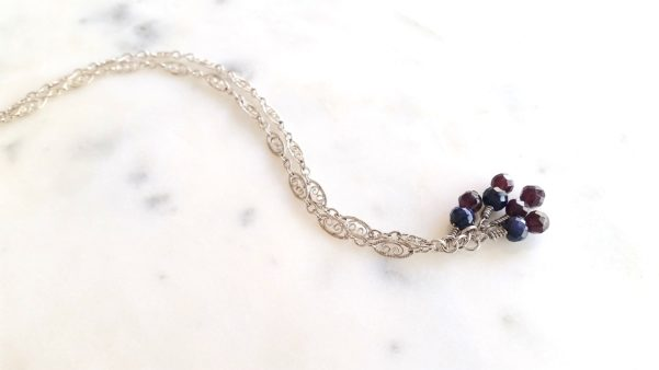 white gold amethyst and sapphire bracelet