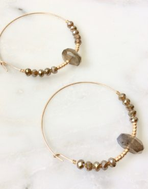 LABRADORITE HOOP EARRINGS WITH BEADS