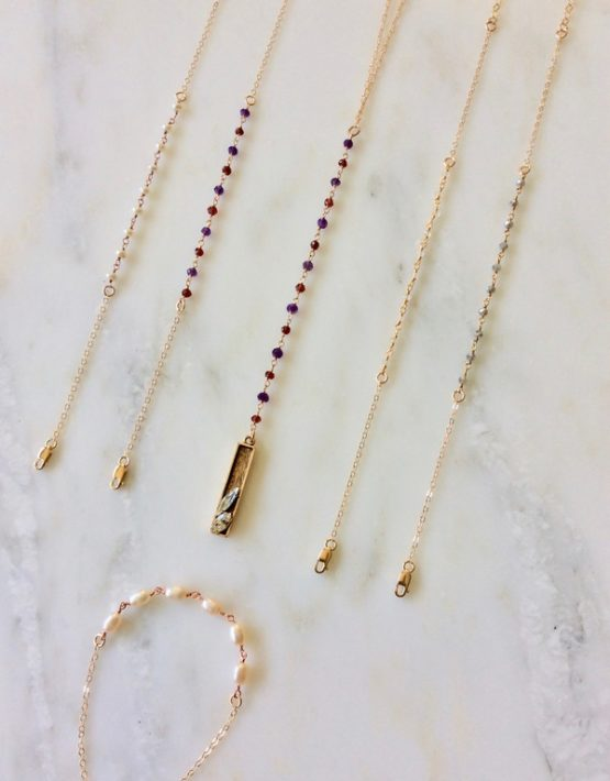 gemstone lariat necklace with gold bar