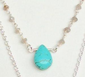 howlite teardrop pendant and labradorite chain