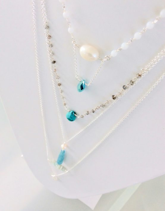 layered silver necklaces