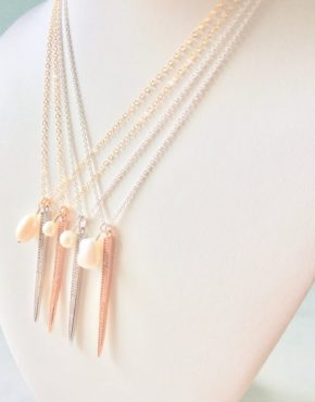 spike necklaces with pearls