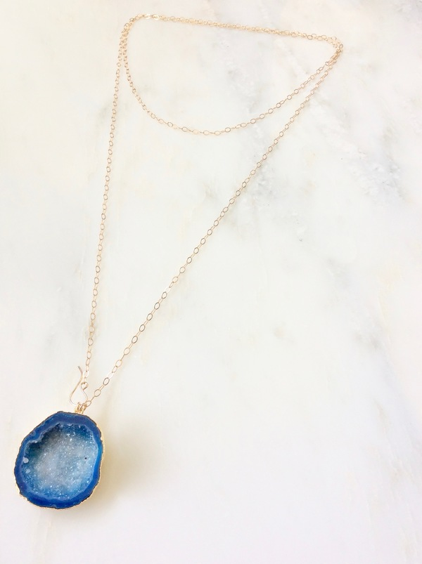Gold necklace with blue druzy