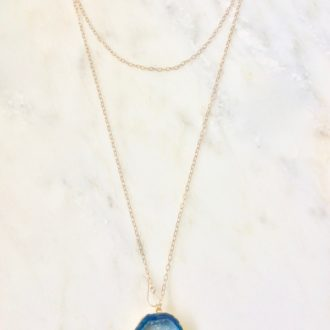 Long necklace with blue druzy pendant