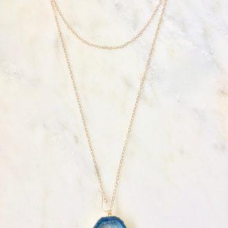 Long necklace with blue druzy pendant
