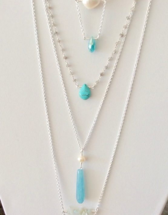 turquoise, white and silver necklaces