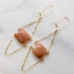 STATEMENT EARRINGS WITH GOLD AND MOONSTONE