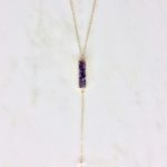 amethyst and gold drop necklace