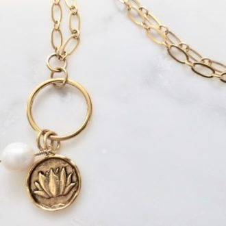 golden lotus charm necklace