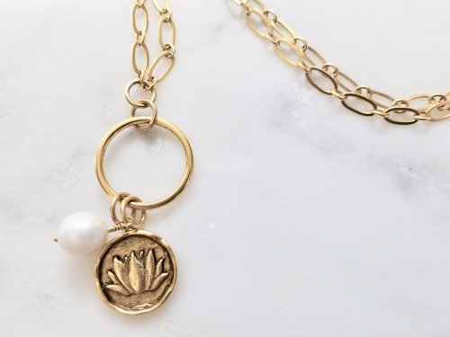 Golden lotus charm necklace gold and pearl jewelry golden lotus charm necklace mozeypictures Choice Image