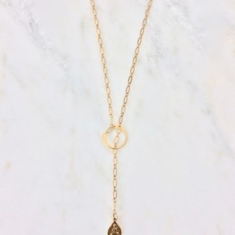 Gold lariat golden necklace