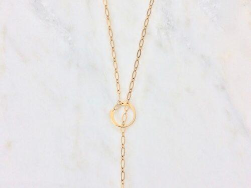Gold lariat golden necklace