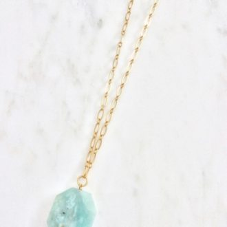 mint and gold necklace