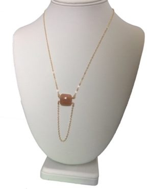 peach moonstone and gold necklace
