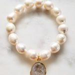 pearl stretch bracelet with agate charm