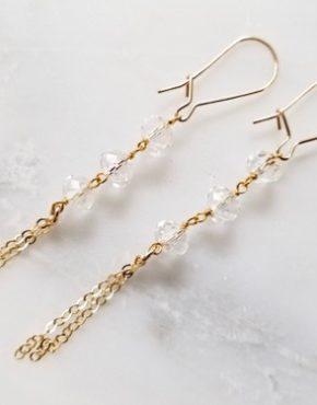 gold and quartz dangling earrings