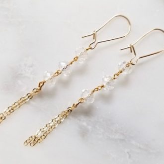 gold and quartz dangling earrings