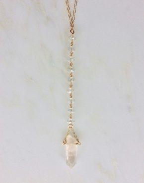 rock crystal quartz and gold necklace