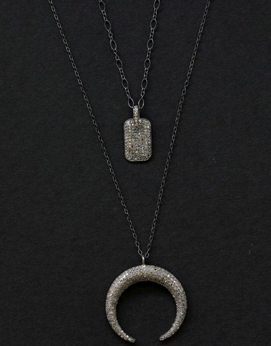 Crescent pav diamond necklace and diamond pendant necklace crescent pav diamond necklace aloadofball Images