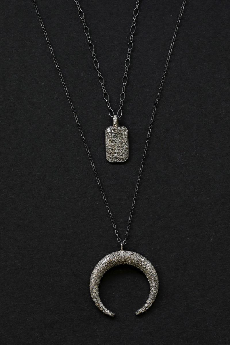 Crescent pav diamond necklace and diamond pendant necklace crescent pav diamond necklace and diamond pendant necklace collection chelsea bond aloadofball Choice Image