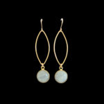 gold and white earrings
