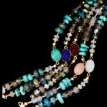 multicolor druzy and bead bracelet