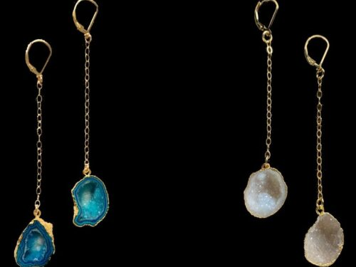 dangling geode earrings