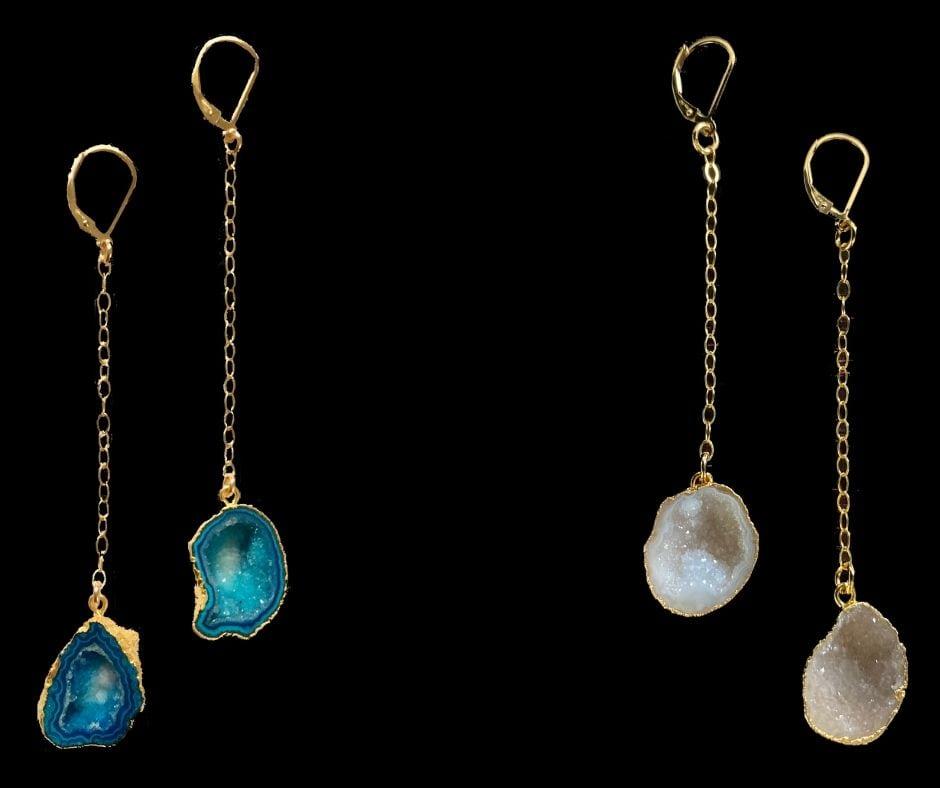 dangling geode earrings