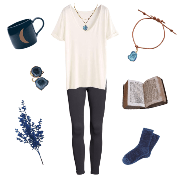 Comfy outfit with black leggings and white t-shirt. White background with leather druzy bracelet, agate druzy gold ring, and an agate druzy gold necklace