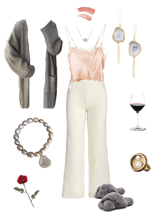 Date night collage with white fuzzy pants and a pink silk top. White background with agate druzy gold earrings, agate druzy gold necklace, gold pearl statement ring, and pink-lilac pearl bracelet with an agate druzy charm